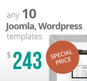 Any 10 Joomla, Wordpress, HTML5 and Bootstrap templates Bundle Package