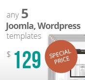 Any 5 Joomla, Wordpress, HTML5 and Bootstrap templatesBundle Package