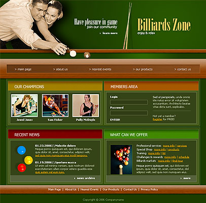 Billiard - Website template - sku:300076368