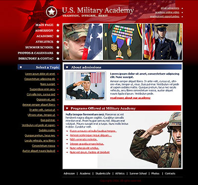 Academy Military Website Design