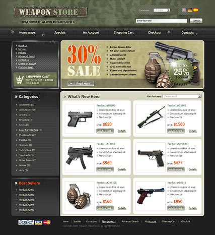 Weapon Store Website Design