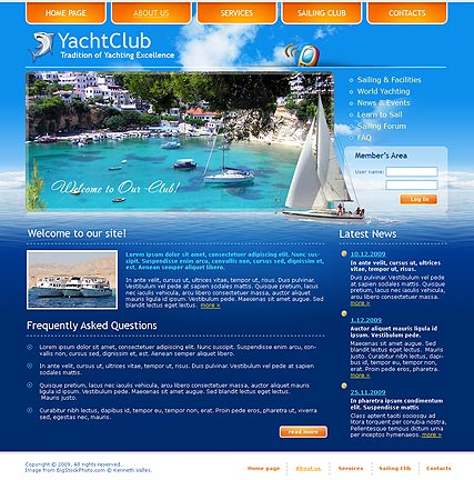 Yacht club Website Design