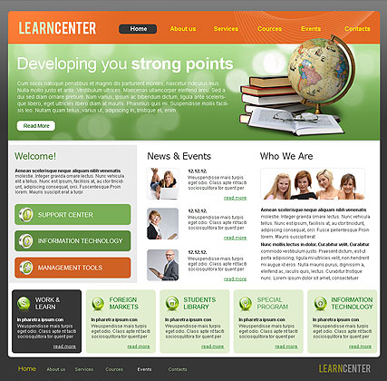 Learning Center Website Design