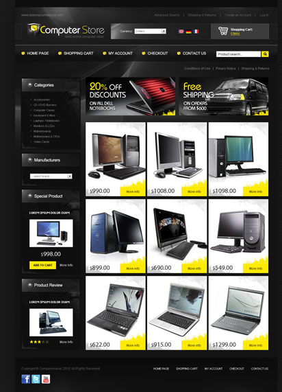 Computer store Website Design