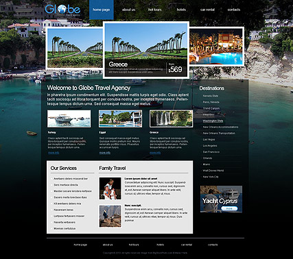 Travel agency html template demo preview for Free php templates for dreamweaver