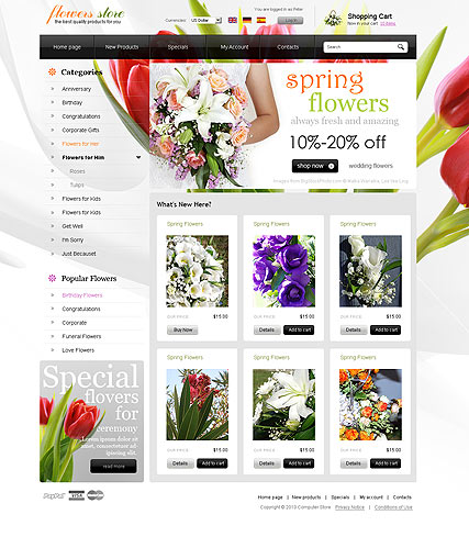 Flowers store Website Design