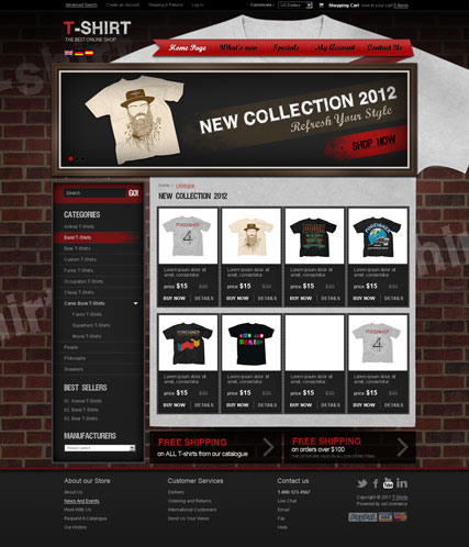 T-shirts v2.3 Website Design