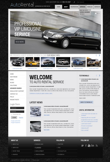 Rent a Car v2.5 Website Design