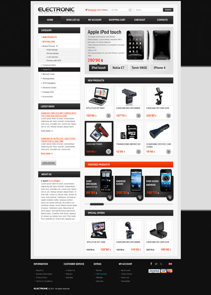 Electronic store Website Design