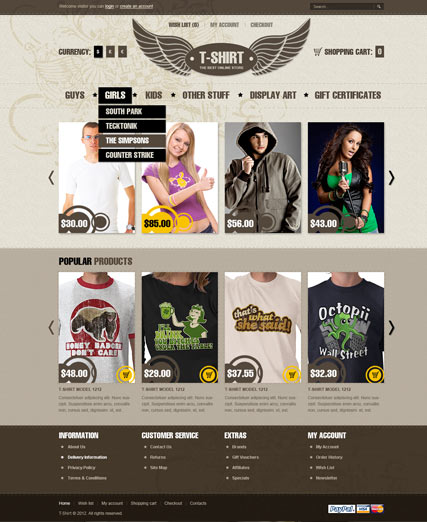 T-shirts Website Design