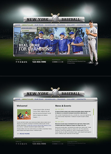 Baseball Club Website Design