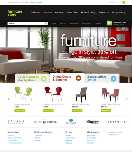 opencart bookstore template - furniture store opencart template demo preview