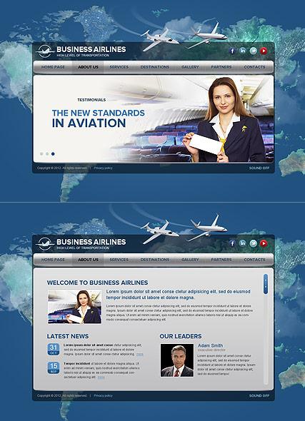 Business Airlines Website Design