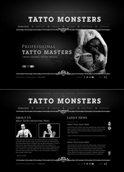 Tatto and piercing Website Design