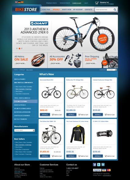 bike store v2 3 oscommerce template demo preview. Black Bedroom Furniture Sets. Home Design Ideas