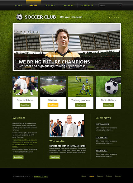 Soccer Club Website Design