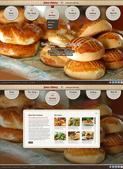 Bakery and Cakes Website Design