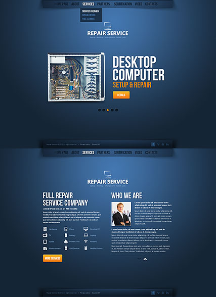 Repair Service Website Design