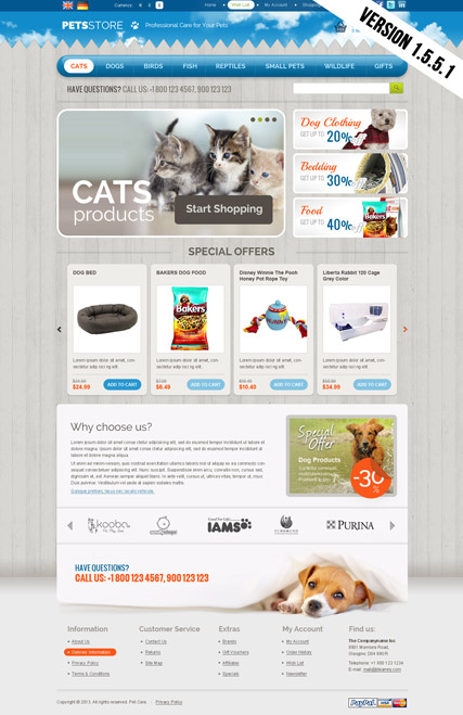 Pets Store Website Design