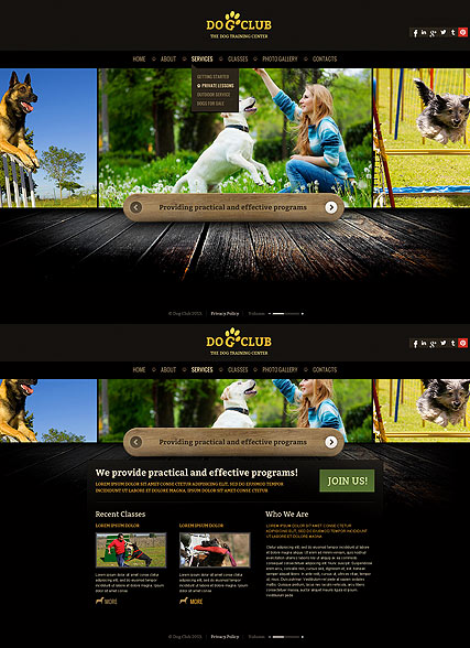 Dog Club Website Design