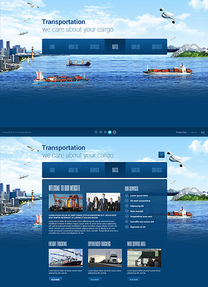 Transportation Paralax Website Design