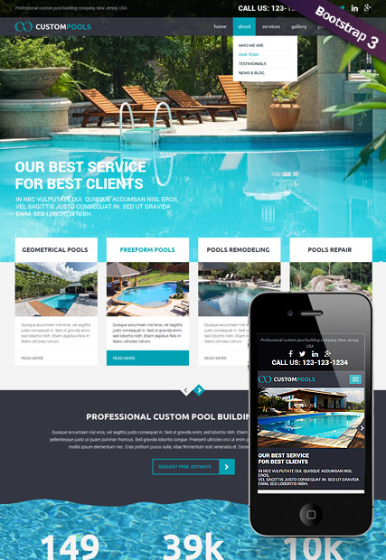 Custom Pools Website Design