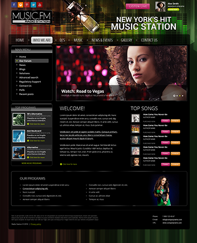 Radio Music FM v3.5 Website Design